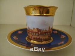 Early 19thC French Paris porcelain cup & saucer handpainted Paris scene 20/335