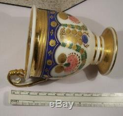 Elegant Antique Russian Old Paris 18th C. Hand Painted Porcelain Cup & Sauce