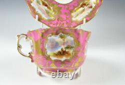 English Porcelain Cup & Saucer Antique withHand Painted Countryside Views