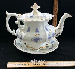 English Porcelain Tea Set c 1835 Teapot, Underplate, Cake Plate, 6 Cups/Saucers
