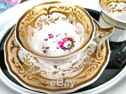 English Porcelain Yates c1820 tea cup and saucer trio painted teacup pink rose
