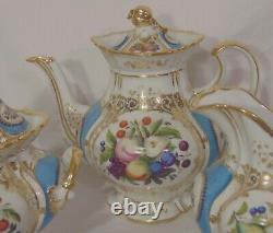 FINE Antique French Old Paris Porcelain Sevres Blue Tea Set Service for 12