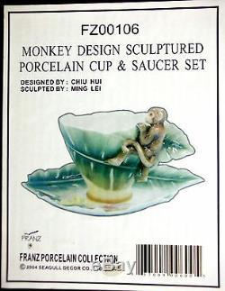 FRANZ Porcelain Monkey Design Cup & Saucer Set New FZ00106