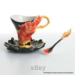 FZ01162 Franz Porcelain cup saucer spoon Vermillion Peony Exclusive art