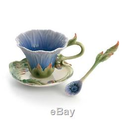 FZ01507 Franz Porcelain Cozies Chrysanthemum cup/saucer/spoon set. Rare item