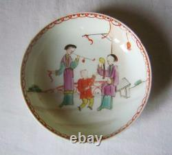Fine Lowestoft Porcelain Tea Saucer Dish Chinese Figures Mandarin Pattern