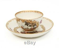 Fine Meissen Hand Painted Porcelain Pictorial Cup and Saucer, circa 1740