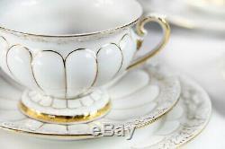 Four pieces X form Meissen porcelain cups and saucers