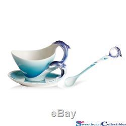 Franz Porcelain Dolphin Splash Cup Saucer Spoon