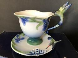 Franz Porcelain Iris Cup, Saucer & Spoon Set Hummingbird