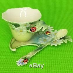 Franz Porcelain Ladybug Floral Design Cup Saucer & Spoon Set of 3 Displayed Only