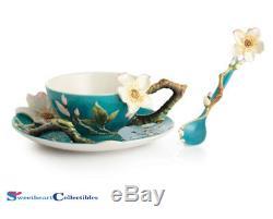 Franz Porcelain Van Gogh Almond Cup Saucer Spoon Set