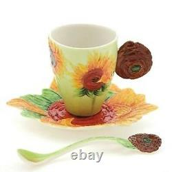 Franz Porcelain Van Gogh Sunflower Cup/Mug Saucer Spoon Set