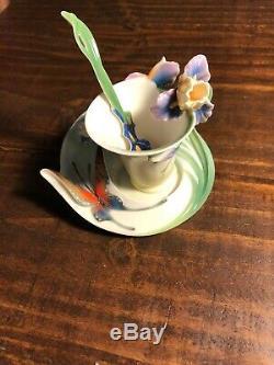 Franz Question Mark Butterfly Design Sculptured Porcelain Cup & Saucer FZ01671