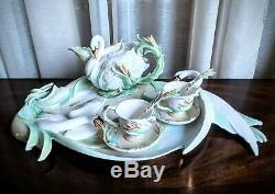 Franz Swan Southern Splendor Porcelain Sculpted Tea Cups/Saucers/Platter/Spoons