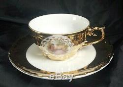 French Coffee Tea Set Porcelain Cup Saucer Fragonard Gilded Dinnerware Bavaria