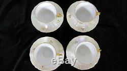 French Fragonard Coffee Tea Set Porcelain Cup Saucer Teapot Gold Vintage Plates