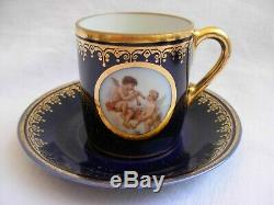 GERMAN PORCELAIN COFFEE CUPS AND SAUCERS, CHERUB PATTERN, SET OF 6, 1930s YEARS