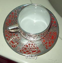 GERMAN STERLING Silver OVERLay PORCELAIN ART DECO CUP + SAUCER