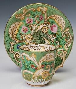 GORGEOUS Staffordshire Porcelain Tea Cup and Saucer Green Gold Floral c. 1848 B
