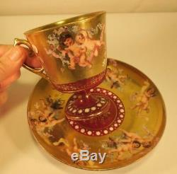 Gilt & Jeweled CHERUBS CUP & SAUCER Putti Footed Porcelain