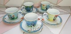 Goebel Rosina Wachtmeister cats porcelain tea coffee set for 5 Cups and saucers