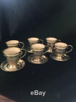 Gorham Sterling Silver & Lenox Porcelain Demitasse Cup & Saucer Set Of 6 210g