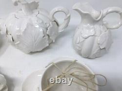 Graces Teaware Pumpkin Vine & Leaf Teapot 2 Cups And Saucers Cream Sugar Butter