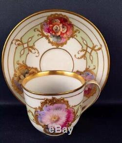 Great KPM Berlin Art Nouveau porcelain soft painting cup & saucer (Weichmalerei)