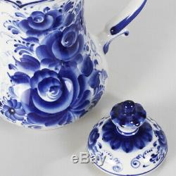 Gzhel Porcelain 23-pc Tea Set for 6 Persons. Bindweed Pattern Handmade in Russia