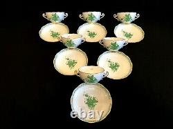 HEREND PORCELAIN CHINESE BOUQUET GREEN SOUP CUP AND SAUCER 718/AV (6pcs.)