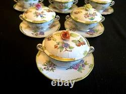 HEREND PORCELAIN HANDPAINTED QUEEN VICTORIA SOUP CUPS AND SAUCERS 744/VBO6pcs