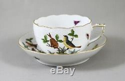 HEREND PORCELAIN ROTHSCHILD BIRD RO TEA CUPS & SAUCERS x 6 704 PERFECT