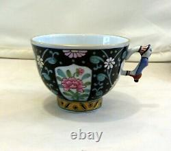 HEREND Siang Noir Coffee Cup&Saucer Mandarin Hungarian Hand Painted Porcelain