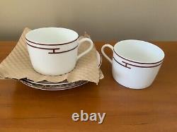 HERMES 2 tasses et sous tasses en porcelaine modèle Rythme. Neuf (3)