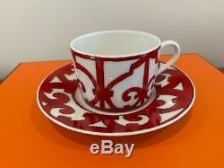 HERMES Balcon du Guadalquivir Pair of Tea Cup & Saucer In Box (Set of 2) New
