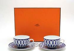 HERMES Paris Authentic Bleus D'Ailleurs Cup & Saucer Set 2 Porcelain Tableware