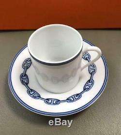 HERMES Porcelain Chaine d'ancre Blue Espresso Cup Saucer Tableware set Auth New