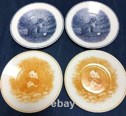 HERMES Porcelain Coffee Cup Saucer Animalia Tableware 4 set Ornament Auth New