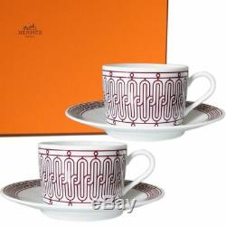 HERMES Porcelain Coffee Cup Saucer H DECO ROUGE Tableware set Ornament Auth New
