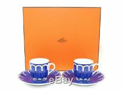 HERMES Porcelain Coffee Cup Saucer Tableware Bleus D'Ailleurs Ornament Interior