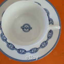 HERMES Porcelain Cup & Saucer 7555/145 Pair 2set Chaine d'ancre Anchor IN BOX