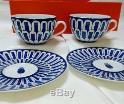 HERMES Porcelain Cup Saucer Bleus D'Ailleurs 2 set Tableware Ornament New 200ml