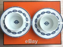 HERMES Porcelain Cup Saucer Chaine d'ancre Blue Tableware 2 set Ornament New