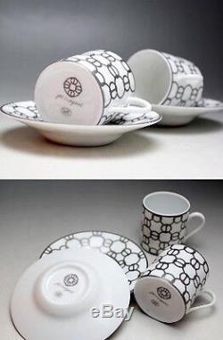 HERMES Porcelain Espresso Cup Saucer 2 set Fil d'Argent Tableware Auth Pottery