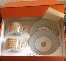 HERMES Porcelain Mosaique Au 24 Cup Saucer set Tableware Ornament Interior New