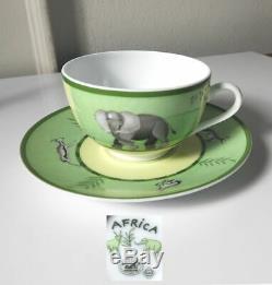 HERMES Porcelain, Paris, AFRICA GREEN Cup & Saucer, Never Used, Mint