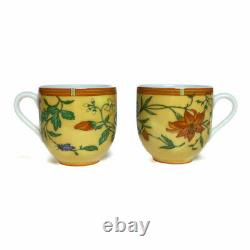 HERMES Porcelain Siesta Cup Saucer Tableware 2 set Yellow Floral Botanical New