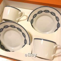 HERMES Porcelain Tea Cup Saucer Chaine d'ancre Blue Dinnerware set Ornament New
