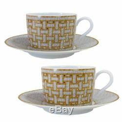 HERMES Porcelain Tea Cup Saucer Mosaique Tableware Ornament Interior Auth New